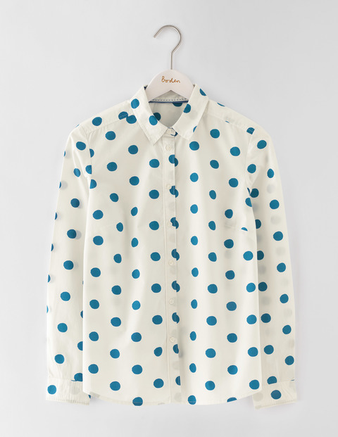 The Classic Shirt Solstice Blue Spot Women, Solstice Blue Spot - neckline: shirt collar/peter pan/zip with opening; style: shirt; pattern: polka dot; predominant colour: white; secondary colour: navy; occasions: casual, creative work; length: standard; fibres: cotton - 100%; fit: body skimming; sleeve length: long sleeve; sleeve style: standard; texture group: cotton feel fabrics; pattern type: fabric; multicoloured: multicoloured; season: s/s 2016; wardrobe: highlight