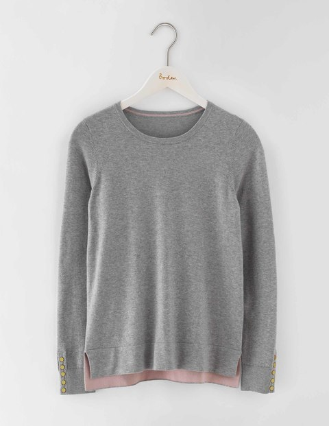 Tilly Jumper Grey Melange Women, Grey Melange - pattern: plain; style: standard; predominant colour: mid grey; occasions: casual; length: standard; fibres: cotton - stretch; fit: standard fit; neckline: crew; sleeve length: long sleeve; sleeve style: standard; pattern type: fabric; texture group: jersey - stretchy/drapey; season: s/s 2016; wardrobe: highlight