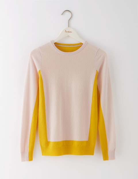 Cashmere Crew Neck Jumper Pink Pearl/Saffron Women, Pink Pearl/Saffron - style: standard; predominant colour: ivory/cream; secondary colour: yellow; occasions: casual; length: standard; fit: slim fit; neckline: crew; fibres: cashmere - 100%; sleeve length: long sleeve; sleeve style: standard; texture group: knits/crochet; pattern type: knitted - fine stitch; pattern: colourblock; multicoloured: multicoloured; season: s/s 2016; wardrobe: highlight