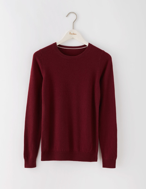 Cashmere Crew Neck Jumper Garnet Women, Garnet - pattern: plain; style: standard; predominant colour: burgundy; occasions: casual, creative work; length: standard; fit: standard fit; neckline: crew; fibres: cashmere - 100%; sleeve length: long sleeve; sleeve style: standard; texture group: knits/crochet; pattern type: knitted - fine stitch; season: s/s 2016; wardrobe: highlight