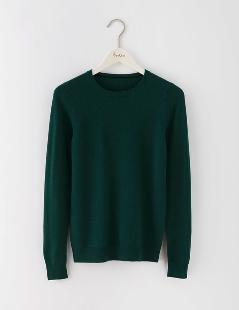 Cashmere Crew Neck Jumper Emerald Night Women, Emerald Night - pattern: plain; style: standard; predominant colour: dark green; occasions: casual; length: standard; fit: standard fit; neckline: crew; fibres: cashmere - 100%; sleeve length: long sleeve; sleeve style: standard; texture group: knits/crochet; pattern type: knitted - fine stitch; season: s/s 2016; wardrobe: highlight