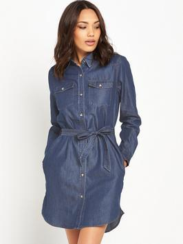 Denim Tencel Western Shirt Dress - style: shirt; length: mid thigh; neckline: shirt collar/peter pan/zip with opening; pattern: plain; waist detail: belted waist/tie at waist/drawstring; bust detail: subtle bust detail; predominant colour: denim; occasions: casual, creative work; fit: body skimming; fibres: cotton - stretch; sleeve length: long sleeve; sleeve style: standard; texture group: denim; pattern type: fabric; season: s/s 2016; wardrobe: basic
