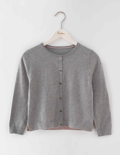 Favourite Crop Cardigan Grey Melange Women, Grey Melange - neckline: round neck; pattern: plain; length: cropped; predominant colour: mid grey; occasions: casual, creative work; style: standard; fibres: cotton - stretch; fit: standard fit; sleeve length: 3/4 length; sleeve style: standard; texture group: knits/crochet; pattern type: knitted - fine stitch; season: s/s 2016; wardrobe: basic