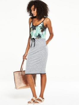 Tropical Tie Waist Dress - sleeve style: spaghetti straps; style: vest; waist detail: belted waist/tie at waist/drawstring; secondary colour: turquoise; predominant colour: mid grey; occasions: casual, holiday; length: on the knee; fit: body skimming; neckline: scoop; fibres: polyester/polyamide - stretch; sleeve length: sleeveless; texture group: jersey - clingy; pattern type: fabric; pattern: patterned/print; multicoloured: multicoloured; season: s/s 2016; wardrobe: highlight; embellishment: contrast fabric; embellishment location: top