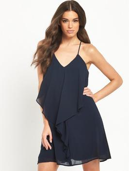 Dressa Dress - length: mid thigh; neckline: low v-neck; sleeve style: spaghetti straps; pattern: plain; predominant colour: navy; occasions: evening; fit: soft a-line; style: slip dress; fibres: polyester/polyamide - 100%; sleeve length: sleeveless; texture group: sheer fabrics/chiffon/organza etc.; pattern type: fabric; season: s/s 2016; wardrobe: event; embellishment: frills; embellishment location: hip, waist