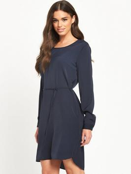 Melli Dress - style: shift; length: mid thigh; neckline: round neck; fit: fitted at waist; pattern: plain; waist detail: belted waist/tie at waist/drawstring; predominant colour: navy; occasions: casual, creative work; fibres: polyester/polyamide - 100%; sleeve length: long sleeve; sleeve style: standard; texture group: crepes; pattern type: fabric; season: s/s 2016; wardrobe: basic