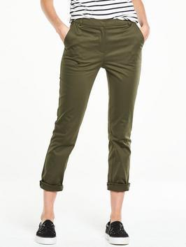 Smart Chino Trouser - pattern: plain; waist: mid/regular rise; predominant colour: khaki; occasions: casual; length: calf length; style: chino; fibres: cotton - 100%; texture group: cotton feel fabrics; fit: slim leg; pattern type: fabric; season: s/s 2016; wardrobe: basic