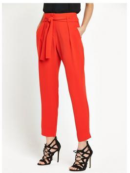 Soft Tie Waist Trouser - pattern: plain; style: peg leg; waist: high rise; waist detail: belted waist/tie at waist/drawstring; predominant colour: bright orange; occasions: evening, creative work; length: ankle length; fibres: polyester/polyamide - 100%; texture group: crepes; fit: tapered; pattern type: fabric; season: s/s 2016; wardrobe: highlight