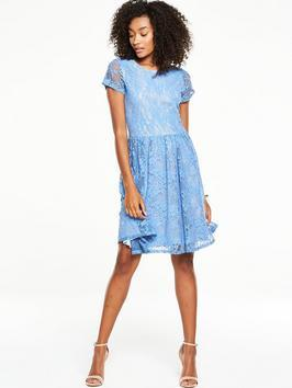 Lace Jersey Skater Dress - sleeve style: capped; waist detail: fitted waist; secondary colour: white; predominant colour: pale blue; occasions: evening, occasion; length: just above the knee; fit: fitted at waist & bust; style: fit & flare; fibres: polyester/polyamide - 100%; neckline: crew; hip detail: soft pleats at hip/draping at hip/flared at hip; sleeve length: short sleeve; texture group: lace; pattern type: fabric; pattern: patterned/print; season: s/s 2016