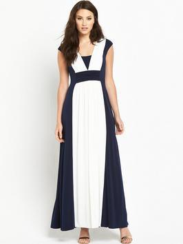 Palma Maxi Dress - neckline: v-neck; sleeve style: capped; fit: empire; style: maxi dress; length: ankle length; waist detail: fitted waist; secondary colour: ivory/cream; predominant colour: navy; occasions: evening, occasion; fibres: polyester/polyamide - 100%; hip detail: adds bulk at the hips; sleeve length: short sleeve; texture group: sheer fabrics/chiffon/organza etc.; pattern type: fabric; pattern size: standard; pattern: colourblock; season: s/s 2016; wardrobe: event
