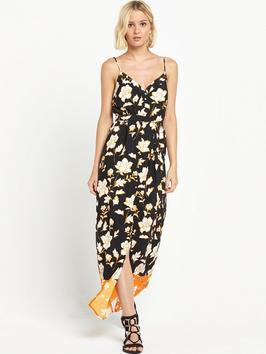 Button Down Floral Maxi Dress - neckline: low v-neck; sleeve style: spaghetti straps; style: maxi dress; length: ankle length; waist detail: fitted waist; hip detail: draws attention to hips; secondary colour: ivory/cream; predominant colour: black; occasions: casual, holiday; fit: body skimming; fibres: polyester/polyamide - 100%; sleeve length: sleeveless; pattern type: fabric; pattern size: standard; pattern: florals; texture group: woven light midweight; season: s/s 2016; wardrobe: highlight