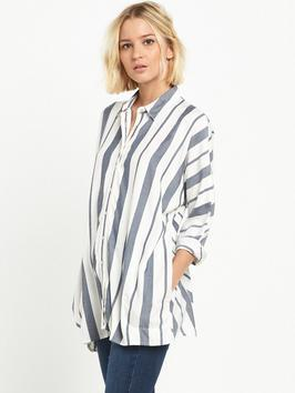 Oversized Stripe Shirt - neckline: shirt collar/peter pan/zip with opening; sleeve style: dolman/batwing; pattern: vertical stripes; length: below the bottom; style: shirt; predominant colour: white; secondary colour: denim; occasions: casual; fibres: cotton - 100%; fit: loose; sleeve length: 3/4 length; texture group: cotton feel fabrics; pattern type: fabric; pattern size: standard; season: s/s 2016; wardrobe: highlight