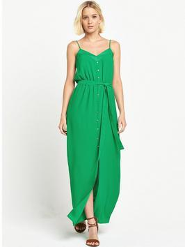 Button Down Split Front Maxi Dress - neckline: low v-neck; sleeve style: spaghetti straps; fit: fitted at waist; pattern: plain; style: maxi dress; length: ankle length; waist detail: belted waist/tie at waist/drawstring; predominant colour: emerald green; fibres: polyester/polyamide - 100%; sleeve length: sleeveless; texture group: crepes; occasions: holiday; pattern type: fabric; season: s/s 2016; wardrobe: holiday