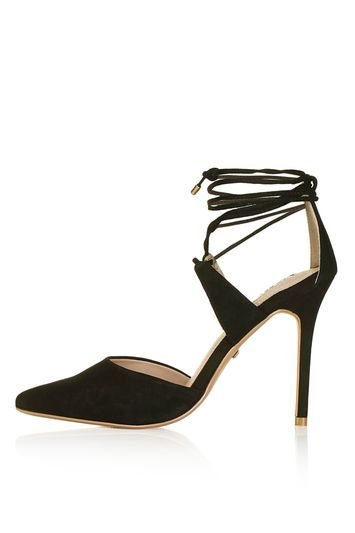 Gabi Tie Ankle Court Shoes - predominant colour: black; occasions: evening, occasion; heel height: high; ankle detail: ankle tie; heel: stiletto; toe: pointed toe; style: courts; finish: plain; pattern: plain; material: faux suede; trends: glossy girl; season: s/s 2016; wardrobe: event