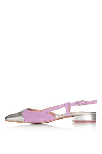 Kiss Me Ballet Sling Back Shoes - predominant colour: pink; secondary colour: silver; occasions: casual, creative work; heel height: flat; toe: square toe; style: ballerinas / pumps; finish: plain; pattern: colourblock; material: faux suede; trends: pretty girl; season: s/s 2016