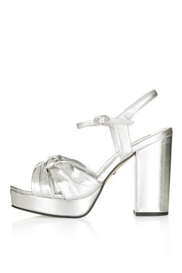 Libby Knotted Platform Sandals - predominant colour: silver; occasions: evening; material: leather; heel height: high; ankle detail: ankle strap; heel: block; toe: open toe/peeptoe; style: standard; finish: metallic; pattern: plain; shoe detail: platform; trends: glossy girl, metallics; season: s/s 2016; wardrobe: event