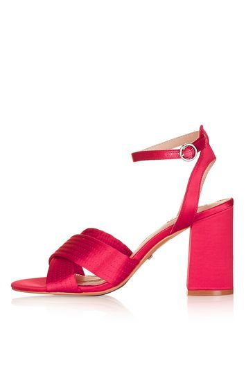 Rich Satin Cross Strap Sandals - predominant colour: hot pink; occasions: evening, occasion; material: satin; heel height: high; ankle detail: ankle strap; heel: block; toe: open toe/peeptoe; style: standard; finish: plain; pattern: plain; trends: fashion girl, glossy girl, pretty girl; season: s/s 2016; wardrobe: event