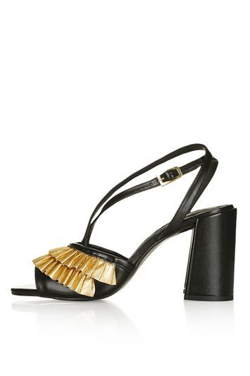 Rosha Frill Sandals - secondary colour: gold; predominant colour: black; occasions: evening; material: leather; heel height: high; heel: block; toe: open toe/peeptoe; style: standard; finish: plain; pattern: plain; season: s/s 2016; wardrobe: event; trends: romantic ruffles