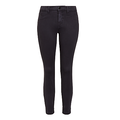 Anja Luxe Sateen Skinny Jeans, Dark Navy - style: skinny leg; length: standard; pattern: plain; pocket detail: traditional 5 pocket; waist: mid/regular rise; predominant colour: navy; occasions: casual; fibres: cotton - stretch; texture group: denim; pattern type: fabric; season: s/s 2016; wardrobe: basic