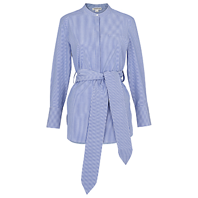 Lara Pinstripe Shirt, Blue/Multi - style: shirt; pattern: pinstripe; waist detail: belted waist/tie at waist/drawstring; secondary colour: white; predominant colour: pale blue; occasions: casual; length: standard; neckline: collarstand; fibres: cotton - 100%; fit: tailored/fitted; sleeve length: long sleeve; sleeve style: standard; texture group: cotton feel fabrics; pattern type: fabric; season: s/s 2016; wardrobe: highlight