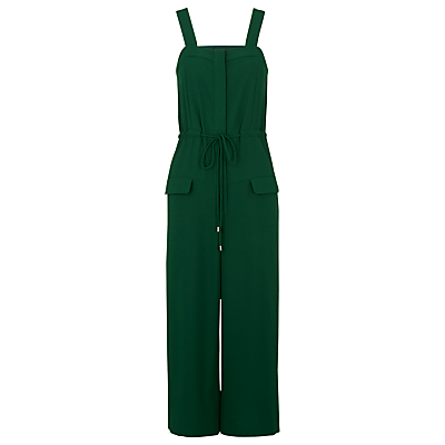 Jodie Drawstring Romper Jumpsuit, Green - pattern: plain; sleeve style: sleeveless; waist detail: belted waist/tie at waist/drawstring; predominant colour: dark green; occasions: casual; length: calf length; fit: body skimming; fibres: polyester/polyamide - 100%; sleeve length: sleeveless; style: jumpsuit; neckline: medium square neck; bust detail: dungaree top; pattern type: fabric; texture group: jersey - stretchy/drapey; season: s/s 2016; wardrobe: highlight