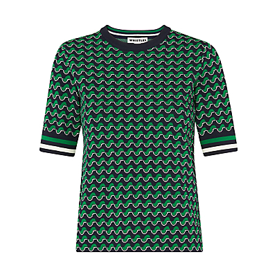 Foulard Jacquard T Shirt, Green/Multi - style: t-shirt; secondary colour: emerald green; predominant colour: black; occasions: casual; length: standard; fit: body skimming; neckline: crew; sleeve length: short sleeve; sleeve style: standard; pattern type: fabric; pattern: patterned/print; texture group: brocade/jacquard; fibres: viscose/rayon - mix; multicoloured: multicoloured; season: s/s 2016