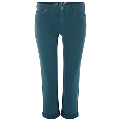 Southern Ocean Slim Fit Cropped Jeans, Empire Green - length: standard; pattern: plain; pocket detail: traditional 5 pocket; style: slim leg; waist: mid/regular rise; predominant colour: teal; occasions: casual; fibres: cotton - stretch; texture group: denim; pattern type: fabric; season: s/s 2016; wardrobe: highlight