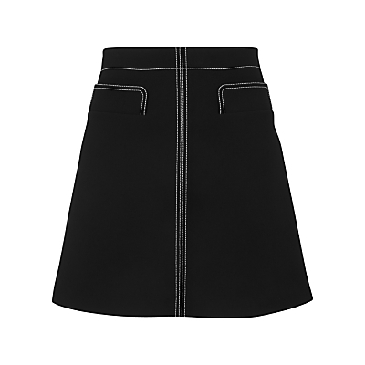Rita Contrast Stitch Skirt, Black - length: mid thigh; pattern: plain; fit: loose/voluminous; waist: high rise; predominant colour: black; occasions: casual, creative work; style: a-line; fibres: polyester/polyamide - 100%; pattern type: fabric; texture group: woven light midweight; season: s/s 2016; wardrobe: basic
