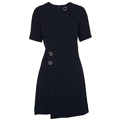 Jade Wrap Over Dress, Navy - pattern: plain; predominant colour: navy; occasions: evening, creative work; length: just above the knee; fit: fitted at waist & bust; style: fit & flare; fibres: polyester/polyamide - 100%; neckline: crew; sleeve length: short sleeve; sleeve style: standard; pattern type: fabric; texture group: jersey - stretchy/drapey; season: s/s 2016; wardrobe: investment