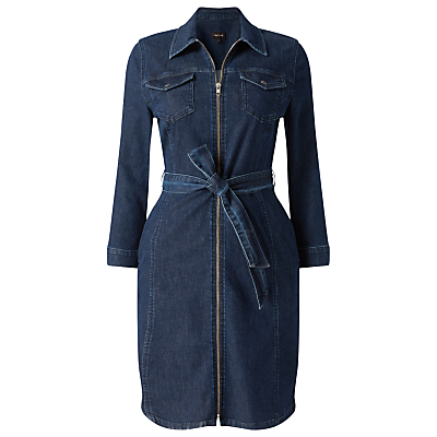Annabelle Zip Denim Dress, Indigo - style: shirt; length: mid thigh; neckline: shirt collar/peter pan/zip with opening; fit: tailored/fitted; pattern: plain; bust detail: pocket detail at bust; waist detail: belted waist/tie at waist/drawstring; predominant colour: navy; occasions: casual, creative work; fibres: cotton - stretch; sleeve length: long sleeve; sleeve style: standard; texture group: denim; pattern type: fabric; season: s/s 2016; wardrobe: basic