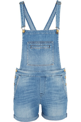 Distressed Denim Overalls Mid Denim - sleeve style: standard vest straps/shoulder straps; pattern: plain; length: short shorts; predominant colour: denim; occasions: casual; fit: body skimming; fibres: cotton - stretch; sleeve length: sleeveless; texture group: denim; style: dungarees; neckline: medium square neck; pattern type: fabric; season: s/s 2016; wardrobe: highlight