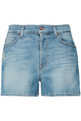 Distressed Stretch Denim Shorts Mid Denim - pattern: plain; pocket detail: traditional 5 pocket; waist: mid/regular rise; predominant colour: denim; occasions: casual, holiday; fibres: cotton - stretch; texture group: denim; pattern type: fabric; season: s/s 2016; style: denim; length: mid thigh shorts; fit: slim leg; wardrobe: holiday