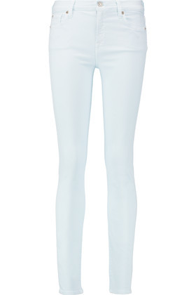 The Skinny Mid Rise Skinny Jeans Sky Blue - style: skinny leg; length: standard; pattern: plain; pocket detail: traditional 5 pocket; waist: mid/regular rise; predominant colour: white; occasions: casual; fibres: cotton - stretch; texture group: denim; pattern type: fabric; season: s/s 2016; wardrobe: highlight