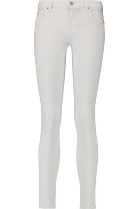 The Skinny Mid Rise Skinny Jeans Light Gray - style: skinny leg; pattern: plain; pocket detail: traditional 5 pocket; waist: mid/regular rise; predominant colour: light grey; occasions: casual; length: ankle length; fibres: cotton - stretch; texture group: denim; pattern type: fabric; season: s/s 2016; wardrobe: highlight