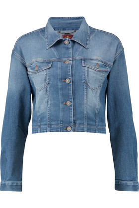 Cropped Denim Jacket Light Denim - pattern: plain; style: denim; fit: slim fit; predominant colour: denim; occasions: casual; length: standard; fibres: cotton - stretch; collar: shirt collar/peter pan/zip with opening; sleeve length: long sleeve; sleeve style: standard; texture group: denim; collar break: high/illusion of break when open; pattern type: fabric; season: s/s 2016; wardrobe: basic