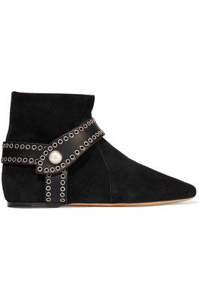 Largo Leather Trimmed Suede Ankle Boots Black - predominant colour: black; occasions: casual, creative work; material: suede; heel height: flat; heel: block; toe: round toe; boot length: ankle boot; style: standard; finish: plain; pattern: plain; season: s/s 2016