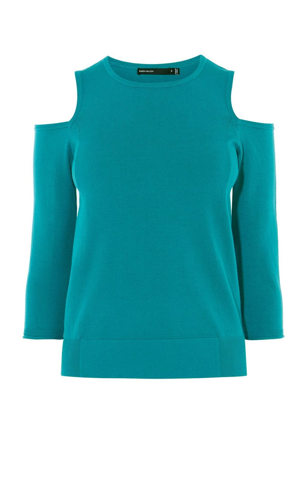 Cutout Shoulder Jumper, Teal - pattern: plain; style: standard; hip detail: fitted at hip; predominant colour: teal; occasions: casual; length: standard; fit: slim fit; neckline: crew; shoulder detail: cut out shoulder; sleeve length: 3/4 length; sleeve style: standard; pattern type: fabric; texture group: jersey - stretchy/drapey; fibres: viscose/rayon - mix; season: s/s 2016
