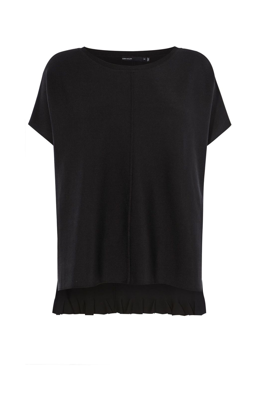 Frill Back Knit, Black - pattern: plain; style: standard; predominant colour: black; occasions: casual; length: standard; fit: standard fit; neckline: crew; sleeve length: short sleeve; sleeve style: standard; pattern type: fabric; texture group: jersey - stretchy/drapey; fibres: viscose/rayon - mix; season: s/s 2016; wardrobe: highlight