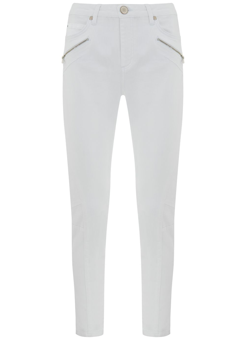 Darby White Biker Skinny Jean, White - style: skinny leg; length: standard; pattern: plain; waist: mid/regular rise; predominant colour: white; occasions: casual, creative work; fibres: cotton - stretch; texture group: denim; pattern type: fabric; embellishment: zips; season: s/s 2016; wardrobe: highlight