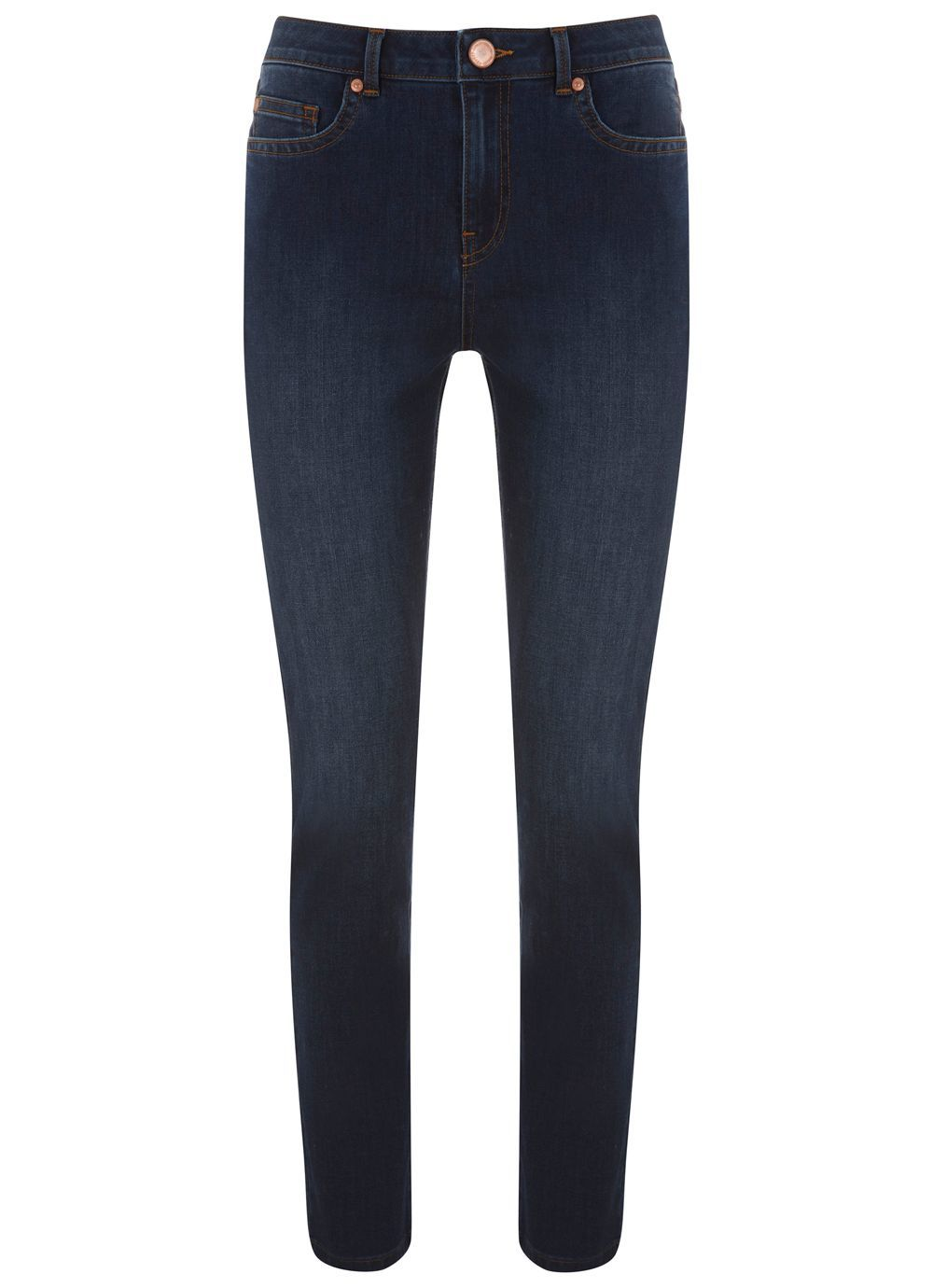 Arizona Blue Relaxed Skinny, Blue - style: skinny leg; length: standard; pattern: plain; pocket detail: traditional 5 pocket; waist: mid/regular rise; predominant colour: navy; occasions: casual; fibres: cotton - stretch; texture group: denim; pattern type: fabric; season: s/s 2016; wardrobe: basic