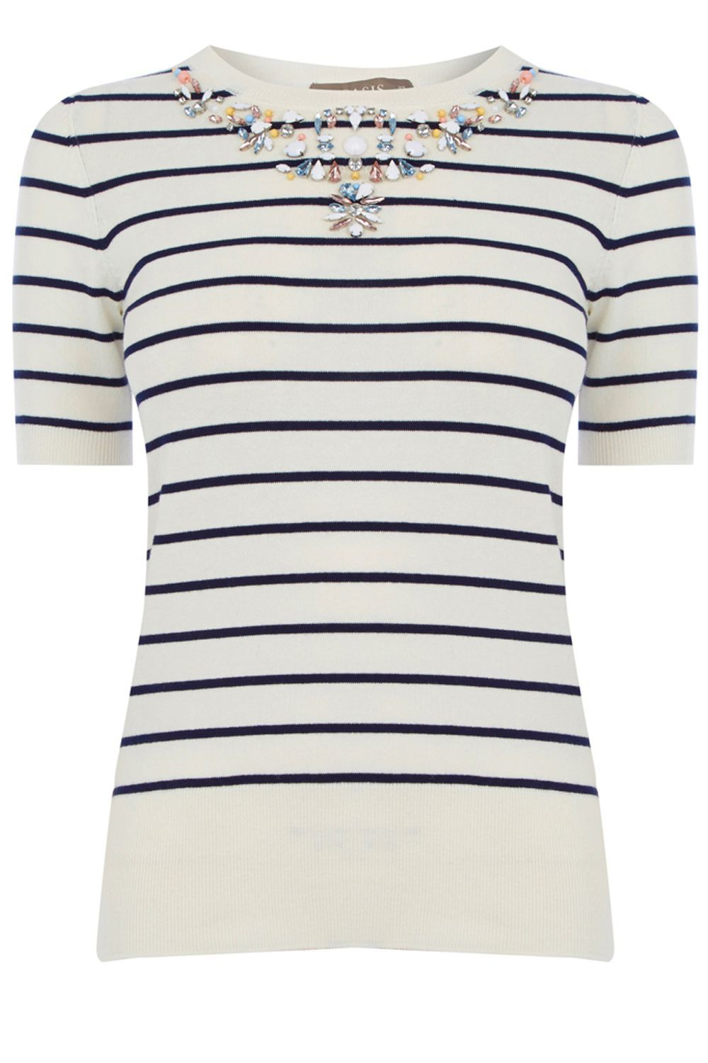 Embellished Stripe Knit, Multi Coloured - pattern: horizontal stripes; style: standard; predominant colour: ivory/cream; secondary colour: navy; occasions: casual; length: standard; fibres: cotton - mix; fit: slim fit; neckline: crew; sleeve length: short sleeve; sleeve style: standard; texture group: knits/crochet; pattern type: knitted - fine stitch; embellishment: crystals/glass; multicoloured: multicoloured; season: s/s 2016; wardrobe: highlight; embellishment location: neck