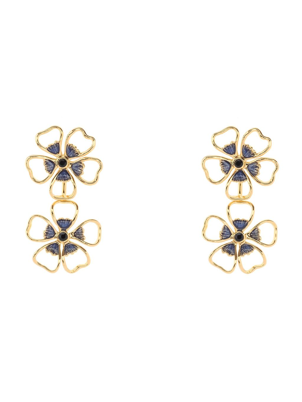 Lorel Enamel Flower Double Drop Earring, N/A - predominant colour: gold; occasions: casual, creative work; style: drop; length: mid; size: standard; material: chain/metal; fastening: pierced; finish: metallic; season: s/s 2016; wardrobe: highlight
