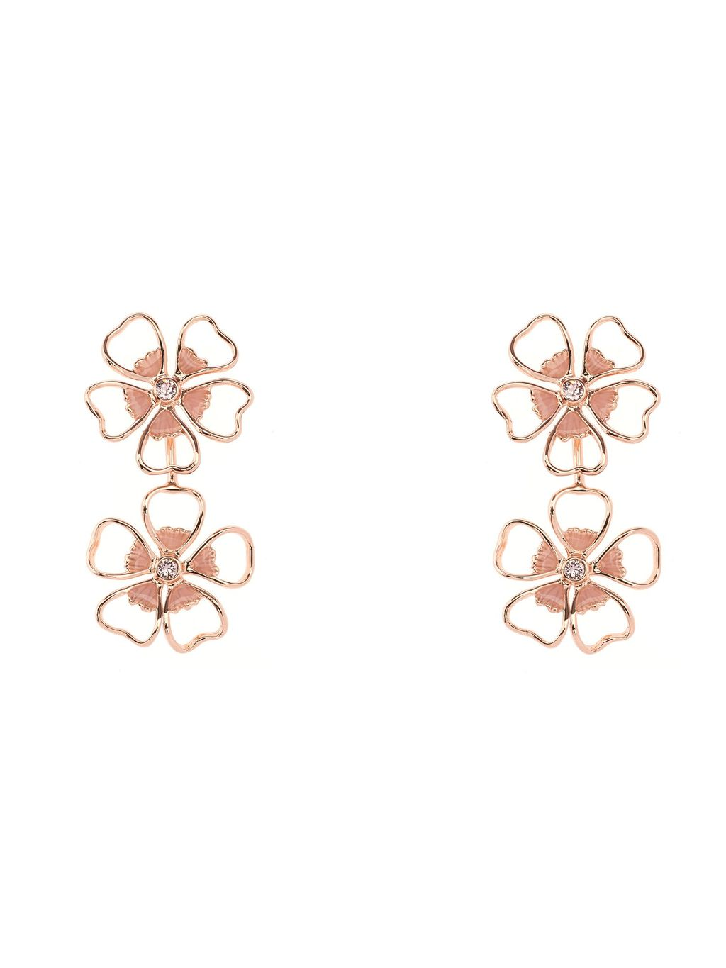 Lorel Enamel Flower Double Drop Earring, N/A - predominant colour: gold; occasions: casual, creative work; style: drop; length: mid; size: standard; material: chain/metal; fastening: pierced; finish: plain; season: s/s 2016; wardrobe: highlight