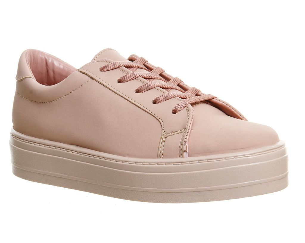 Diva Flatform Lace Up Shoes, Pastel Pink - predominant colour: pink; occasions: casual; material: faux leather; heel height: flat; toe: round toe; style: trainers; finish: plain; pattern: plain; shoe detail: platform; season: s/s 2016; wardrobe: highlight