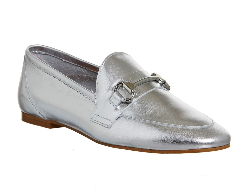 Destiny Trim Loafers, Silver - predominant colour: silver; occasions: casual, creative work; material: leather; heel height: flat; embellishment: snaffles; toe: round toe; style: loafers; finish: metallic; pattern: plain; season: s/s 2016