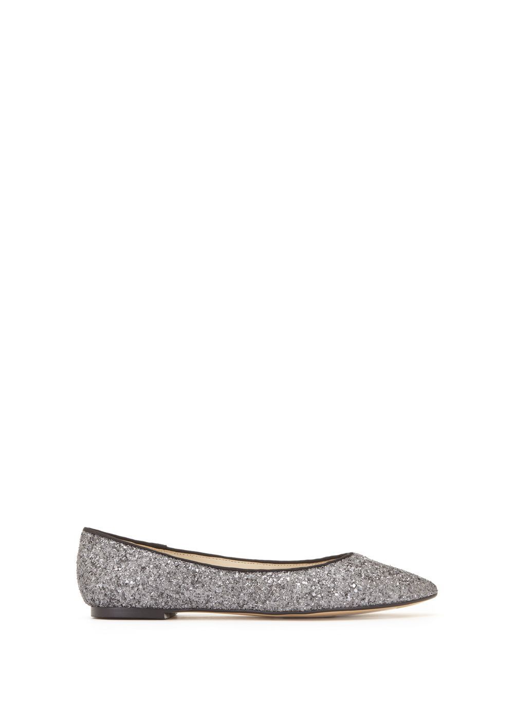 Pewter Nali Glitter Ballet Pump, Metallic - predominant colour: silver; occasions: casual; material: leather; heel height: flat; embellishment: glitter; toe: pointed toe; style: ballerinas / pumps; finish: metallic; pattern: plain; season: s/s 2016; wardrobe: basic