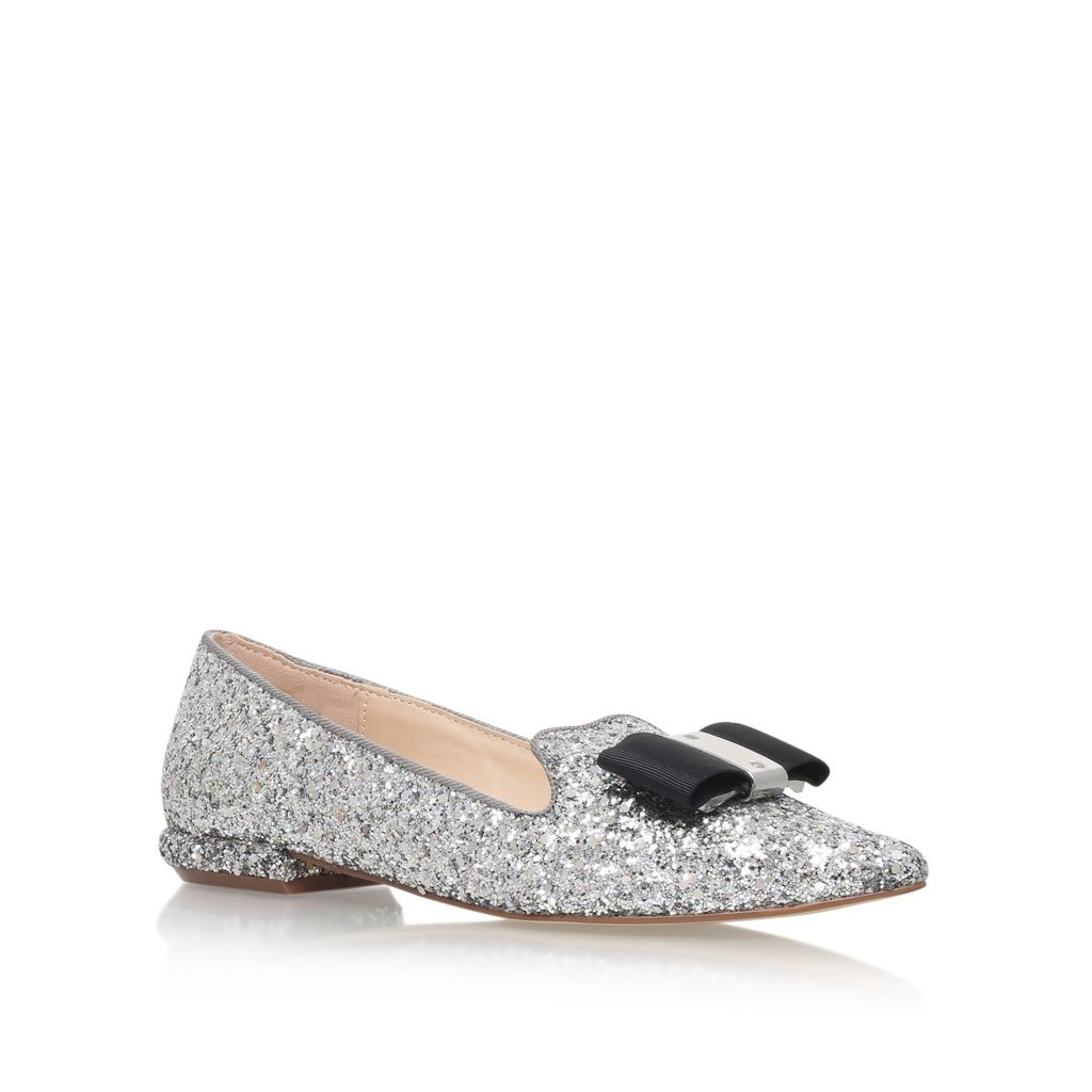 Major Low Heel Slip On Loafers, Silver - predominant colour: silver; occasions: casual, creative work; material: leather; heel height: flat; embellishment: glitter; toe: pointed toe; style: loafers; finish: metallic; pattern: plain; season: s/s 2016; wardrobe: basic