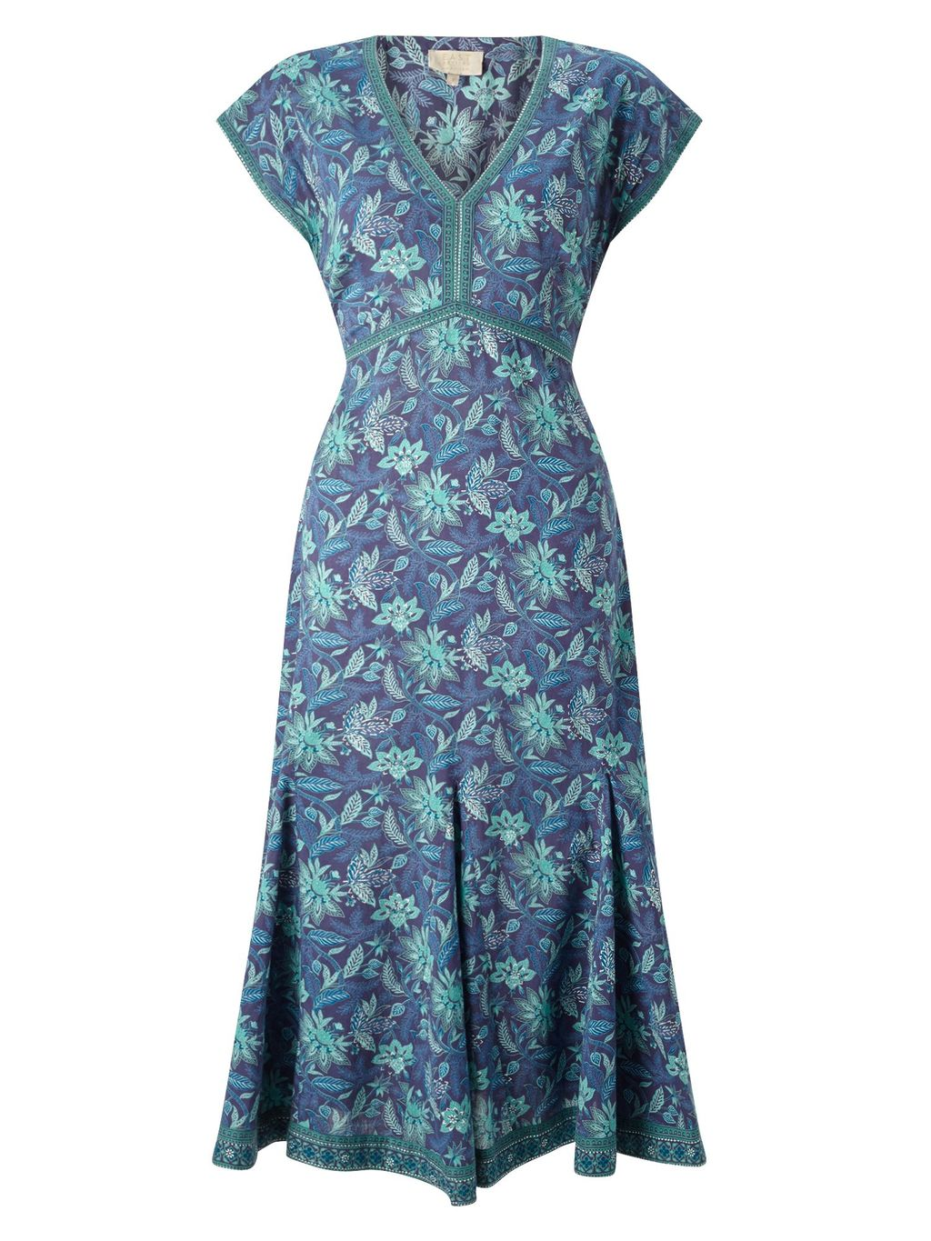 Anokhi Anatolia Dress, Green - style: tea dress; length: below the knee; neckline: v-neck; sleeve style: capped; predominant colour: denim; secondary colour: pistachio; occasions: evening; fit: soft a-line; fibres: cotton - 100%; sleeve length: short sleeve; texture group: cotton feel fabrics; pattern type: fabric; pattern size: big & busy; pattern: florals; multicoloured: multicoloured; season: s/s 2016; wardrobe: event
