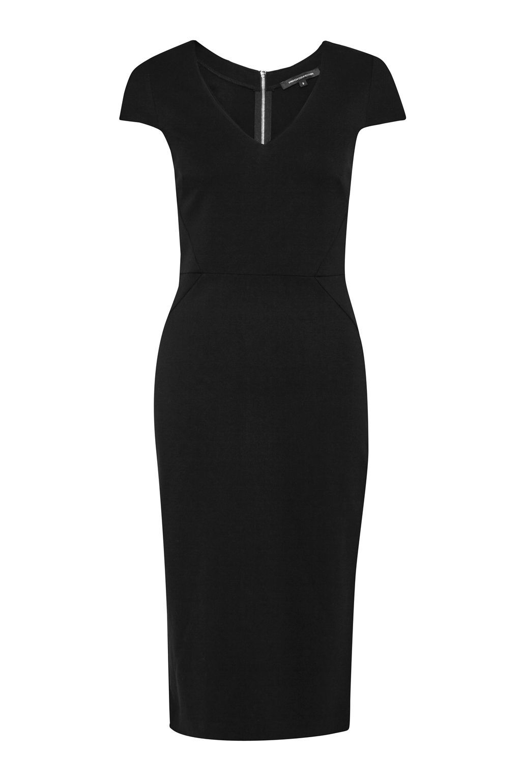 Lula Stretch Fitted Knee Length Dress, Black - neckline: v-neck; sleeve style: capped; fit: tight; pattern: plain; style: bodycon; predominant colour: black; occasions: evening; length: on the knee; fibres: viscose/rayon - 100%; sleeve length: short sleeve; texture group: jersey - clingy; pattern type: fabric; season: s/s 2016; wardrobe: event