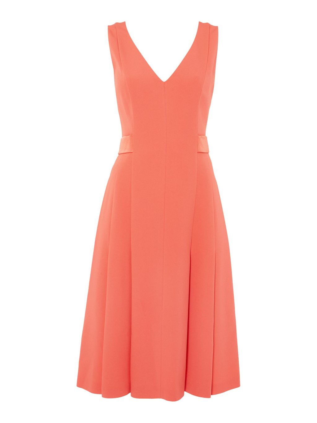 Dibella V Neck Crepe Fit & Flare Dress, Pink - neckline: v-neck; pattern: plain; sleeve style: sleeveless; predominant colour: coral; occasions: evening; length: on the knee; fit: fitted at waist & bust; style: fit & flare; sleeve length: sleeveless; texture group: crepes; pattern type: fabric; fibres: viscose/rayon - mix; season: s/s 2016; wardrobe: event